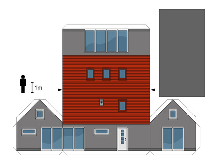 joggers: Paper model of a family house, not a real construction, vector illustration Illustration