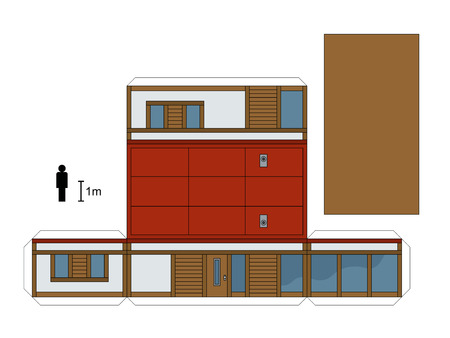 joggers: Paper model of a low house, vector illustration Illustration