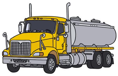 Grote tank vrachtwagen, vector, hand tekening