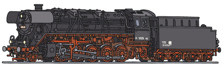 loco: Old steam locomotive, vector, hand drawing Illustration