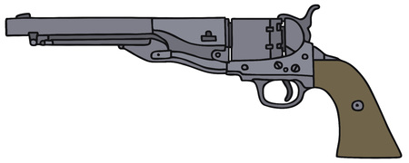 the gang: Classic Wild West revolver, vector, hand drawing