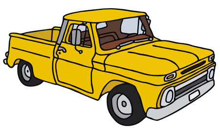 pickup: Old yellow pick-up, vector, hand drawing Illustration