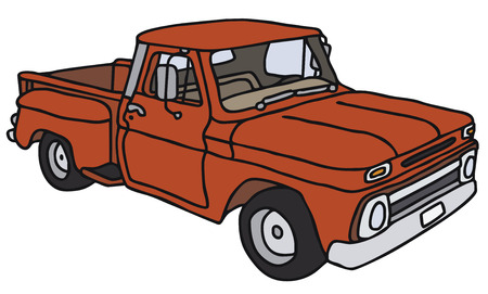 old truck: Old red small truck