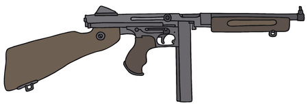 tommy: Old american automatic gun, vector Illustration