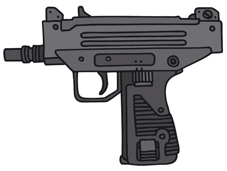 tommy: Short automatic gun, hand drawn vector illustration