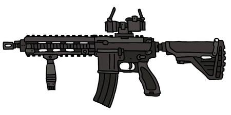 Automatic gun, hand drawn vector illustration