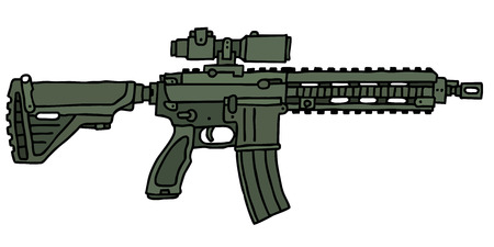tommy: Green automatic gun, hand drawn vector illustration Illustration