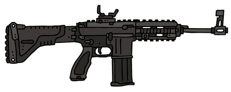 tommy: Automatic gun, hand drawn vector illustration