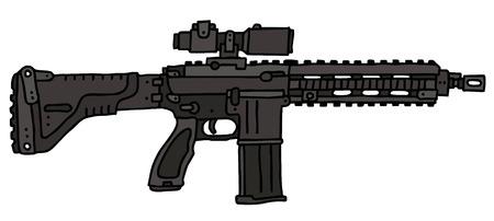 automatic: Automatic gun, hand drawn vector illustration