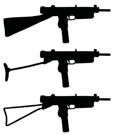 tommy: Old automatic guns, hand drawn vector illustration Illustration