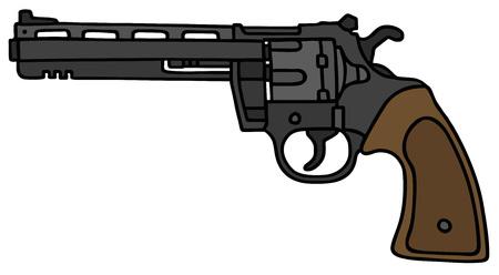 revolver: Big revolver, vector illustration, hand drawing