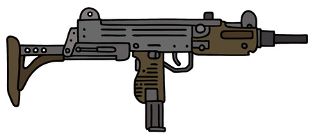 tommy: Small automatic gun, hand drawn vector illustration Illustration