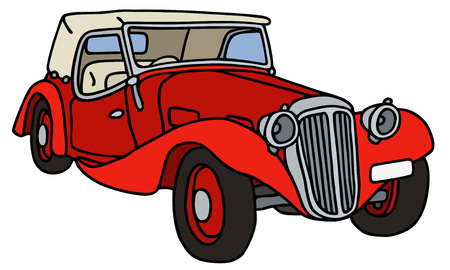 cabriolet: Vintage red cabriolet, hand drawn vector illustration