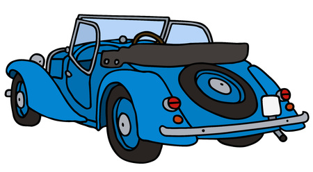 cabriolet: Vintage blue cabriolet, hand drawn vector illustration