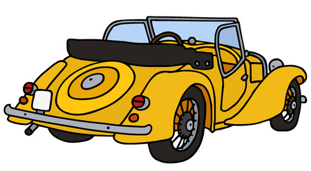 cabriolet: Vintage yellow cabriolet, hand drawn vector illustration