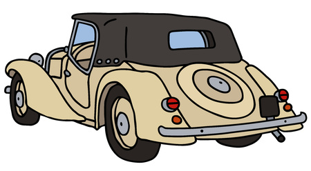 cabriolet: Vintage cabriolet, hand drawn vector illustration