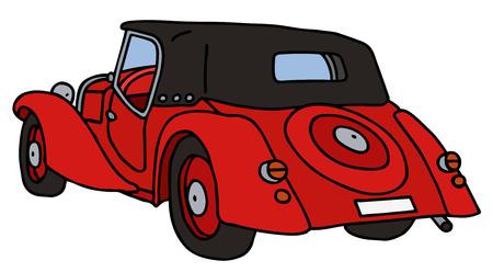 cabriolet: Vintage red cabriolet, hand drawn vector illustration