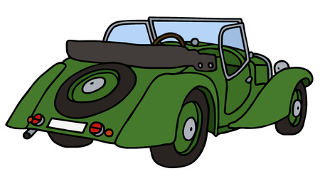 cabriolet: Vintage green cabriolet, hand drawn vector illustration Illustration