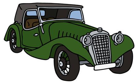 cabriolet: Vintage green cabriolet, hand drawn vector illustration Illustration