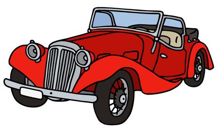 roadster: Vintage red cabriolet, hand drawn vector illustration