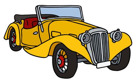 cabriolet: Vintage yellow cabriolet, hand drawn vector illustration