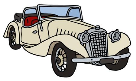 cabriolet: Vintage cabriolet, hand drawn vector illustration