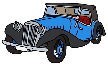 cabriolet: Vintage blue cabriolet, hand drawn vector illustration