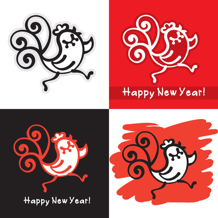 cute images: Cute Cockerel - Symbol of Eastern Calendar and Year 2017. Four Vector Images.