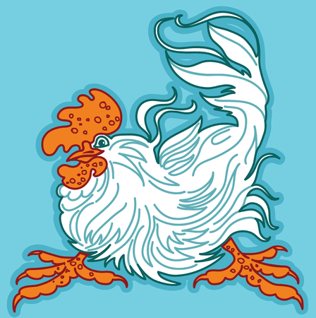 Expressive Cockerel on Turquoise Background. Vector image. A Symbol of Eastern Calendar