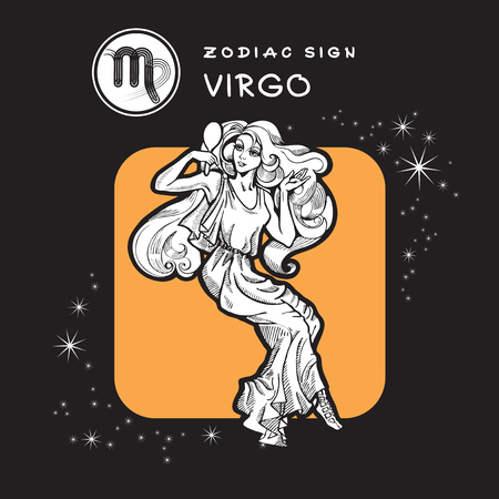 antic: Virgo - Astrology Sign. Vector Icon of Zodiac Symbol. Traditional image of Beautiful Blonde in Graphic Style.