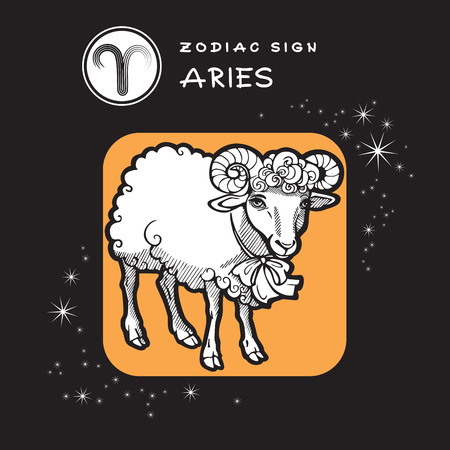 character traits: Aries - Zodiac Sign. Vector Icon of Zodiac Symbol. Traditional image of Cute Sheep in Graphic Style.