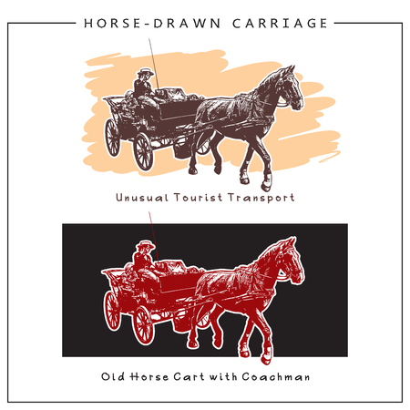 Image of a Horse-drawn Carriage, Horse Cart with man. Colored  picture. Illustration