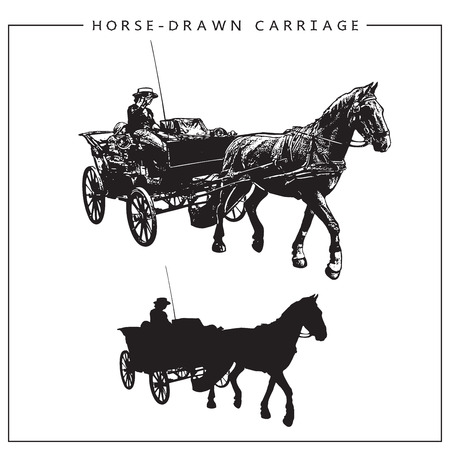 Image of a Horse-drawn Carriage, Horse Cart with a man. Isolated black and white picture and silhouette.