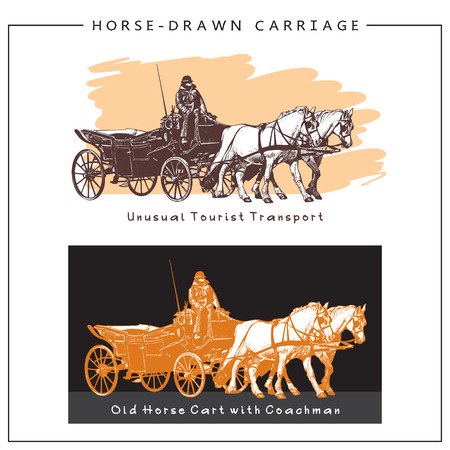 horse cart: Horse-drawn Carriage. Horse Cart with a man and Two Horses. Colored illustration.