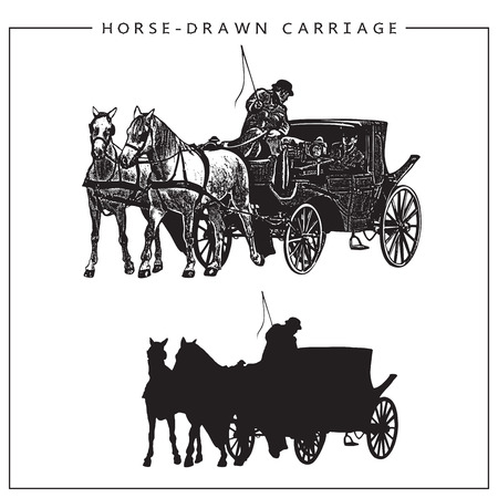 horse cart: Illustration of Horse-drawn Carriage, Horse Cart with Coachman and Two Horses. Isolated monochrome image and silhouette.