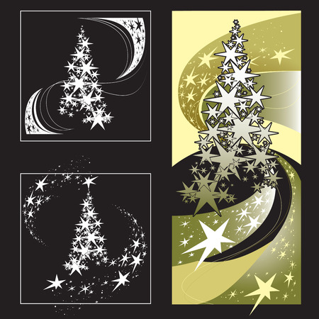 snowstorm: Christmas Tree, Stars, Snowstorm. Set of vector images on a dark background.