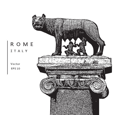 Capitoline Wolf with Romulus and Remus - symbol of Rome, Italy. Illustration