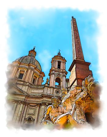 Piazza Navona (Navon Square) in Rome, Italy. Fountain of the Four Rivers (Fontana dei Quattro Fiumi). Stylized watercolor illustration.