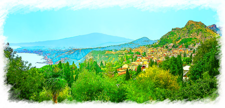 Seaside landscape with Taormina city and Mount Etna in Sicily, Italy.