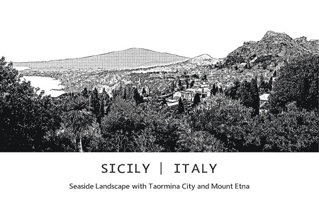 etna: Seaside landscape with Taormina city and Mount Etna in Sicily, Italy. Vector image. Black and white illustration in engraving style.