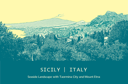 etna: Seaside landscape with Taormina city and Mount Etna in Sicily, Italy. Vector illustration. Colored picture in engraving style.