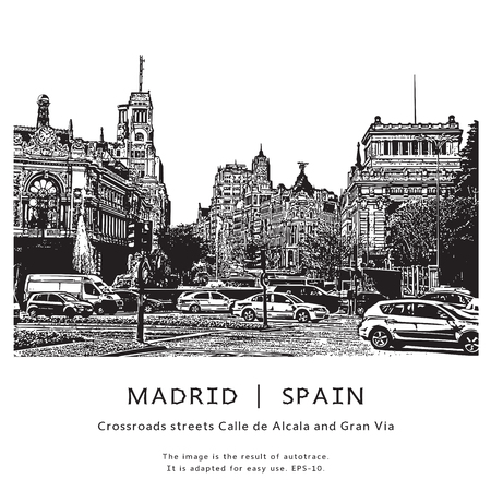 gran via: Madrid, Spain. Crossroads Alcala avenue and Gran Via. The famous Spanish street with houses and cars. Illustration in graphic style. Illustration