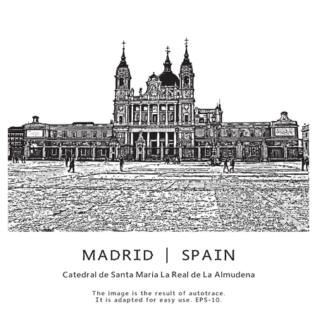 black maria: Madrid, Spain. The Cathedral of Saint Mary the Royal of La Almudena. Illustration in graphic style.