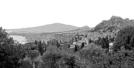 Mount Etna, Sicily, Italy. Seaside landscape with Taormina city. Graphic illustration.