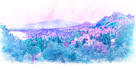 Sicily, Italy. Seaside landscape with Taormina city and Mount Etna. Stock Photo
