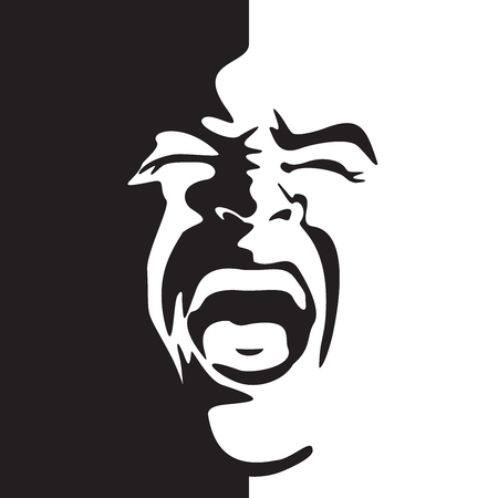 Screaming face shout in black and white vector graphics. Shouting mouth - expression drawing in graffiti style.