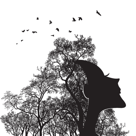 Woman face and tree silhouette - vector illustration. Lovely Girl The concept of the living soul of nature.