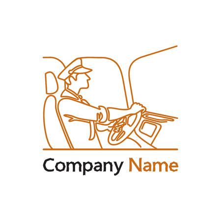 Conducteur de transport public avec roue, vue latérale. Casquette et vêtements. Illustration d'une icône de conduite d'autobus de passagers ou d'un logo. Logo