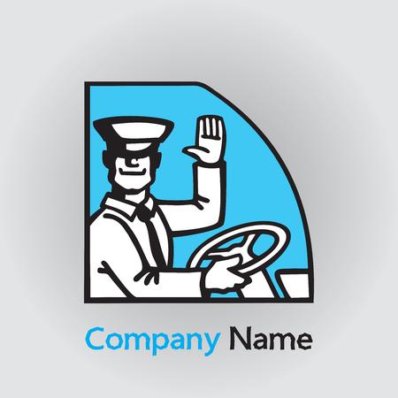 Sourire heureux chauffeur de transport public avec roue. Vêtements et casquette. Illustration d'une icône de conduite de bus de passagers ou d'un logo.