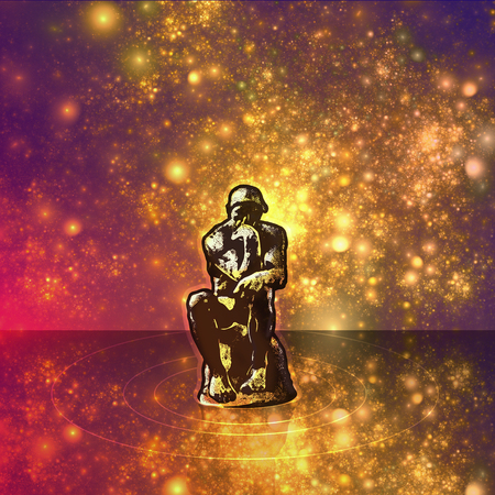 Thinker man sitting among fantasy space. Stylized silhouette of the stars and stars. Conceptual symbol of wisdom, thinking, meditation and mental clarity.